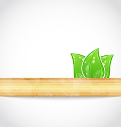 Natural background with eco green leaves and wood vector image