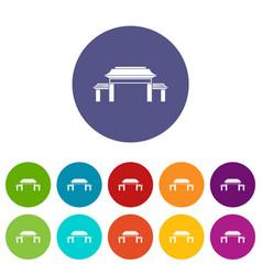 pagoda set icons vector image