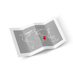 paper folded world map with red pin pointer vector image