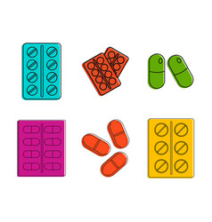 pills icon set color outline style vector image