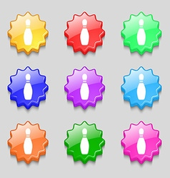 Pin bowling icon sign symbol on nine wavy vector
