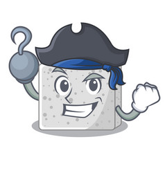 Pirate feta cheese character cartoon vector