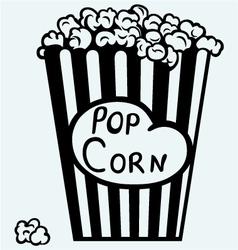 Popcorn exploding inside packaging vector