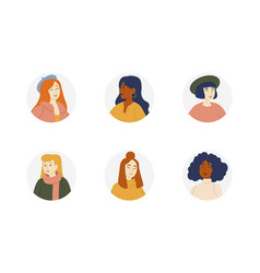 portraits of girls of different nationalities vector image