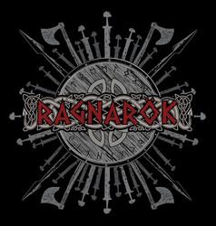 ragnarok viking design the shield of a viking vector image