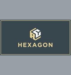 Rc hexagon logo design inspiration vector