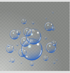 realistic soap bubbles set isolated on the light vector image