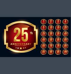 red anniversary golden labels big set vector image