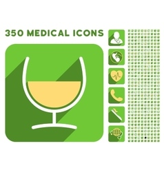 Remedy Glass Icon and Medical Longshadow Icon Set vector