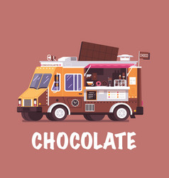 retro chocolate food truck vector image