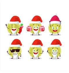 Santa claus emoticons with slice amla cartoon vector