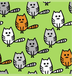 seamless pattern with cute funny kittens vector image