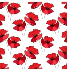 Seamless pattern with stylized cute red poppie E vector image