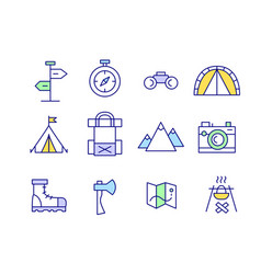 Set line art travel trekking camping icons vector
