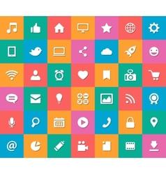 set modern flat design social media icons vector image