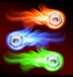 set of burning football on fire vector image
