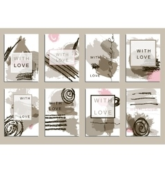 Set of universal cards Hand Drawn textures vector image