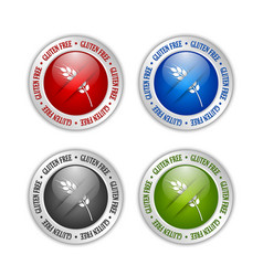 set silver gluten free badges on white vector image