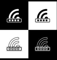 set wifi locked sign icons isolated on black and vector image