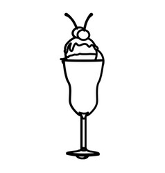 Silhouette ice cream glass cup with cherries vector
