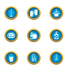 Soap business icons set flat style vector