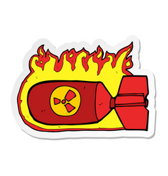 Sticker a cartoon nuclear bomb vector