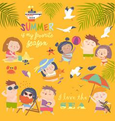 Summer childs outdoor activities beach holiday vector