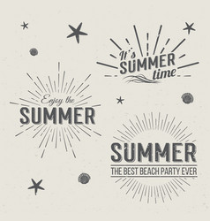 Summer time logo templates holidays lettering vector
