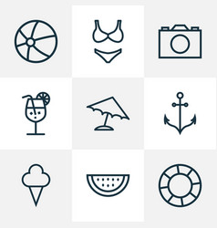 Sun icons line style set with watermelon parasol vector