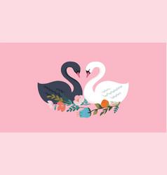 Swan lake greeting card poster and vector