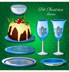 Tableware set with Christmas decor and cake vector image