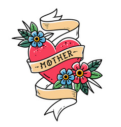 Tattoo red heart with ribbon and lettering mother vector
