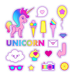 unicorn sticker set cute children collection vector image