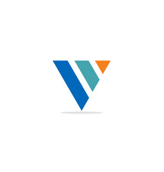 v shape line colored logo vector image
