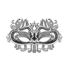 venetian or mardy gras carnival mask with feathers vector image