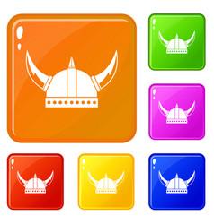 Viking helmet icons set color vector