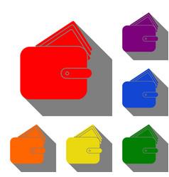 wallet sign set of red orange vector image