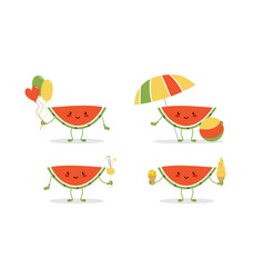 watermelon characters enjoying summer holidays vector image