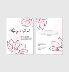 Wedding invitation two sides with tender pink vector