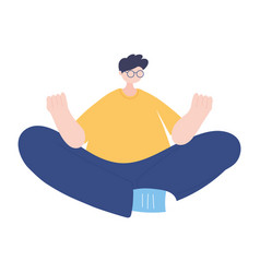 young man sitting with crossed legs in floor vector image