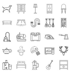 bedroom icons set outline style vector image vector image