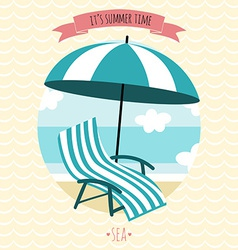 Card with beach armchair and umbrella Summer time vector image vector image
