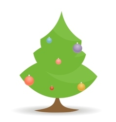Cartoon christmas tree with toys on white vector