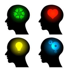 head icons with idea symbols vector image vector image