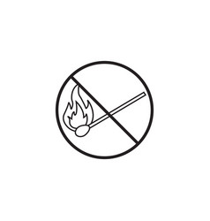 no fire line icon no open flame prohibited sign vector image
