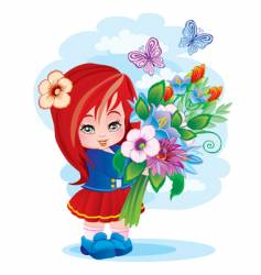 the girl with a bouquet vector image vector image
