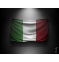 waving flag italy on a dark wall vector image vector image