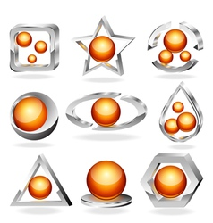 3d business abstract icons set vector image