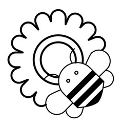bee on flower icon outline style vector image