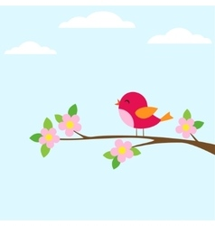 Bird on blooming branch vector image vector image